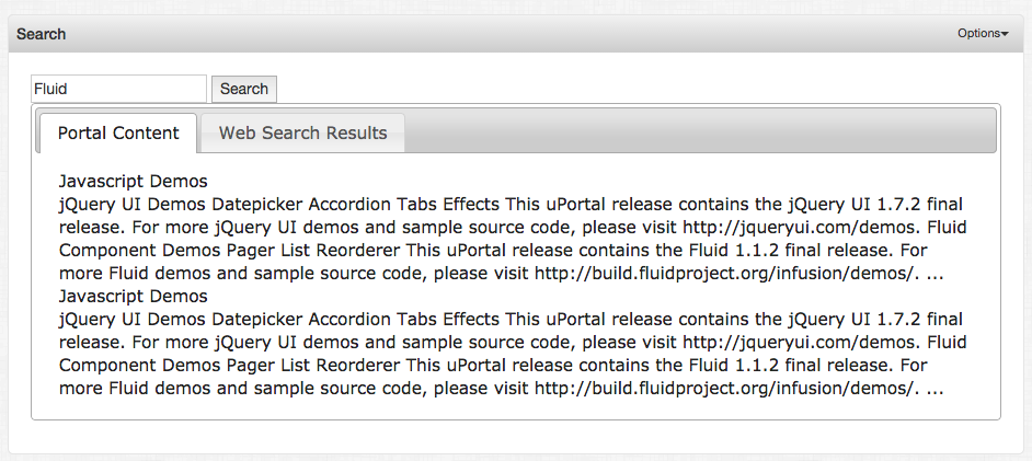 Example of searching for Fluid and matching on JavaScript demos managed content
