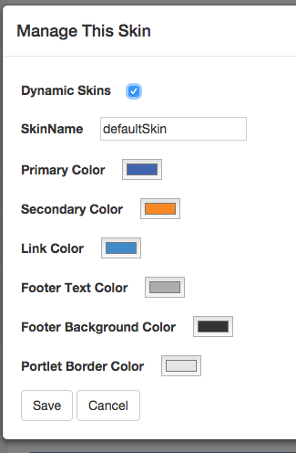 Dynamic skin portlet config mode color picker
