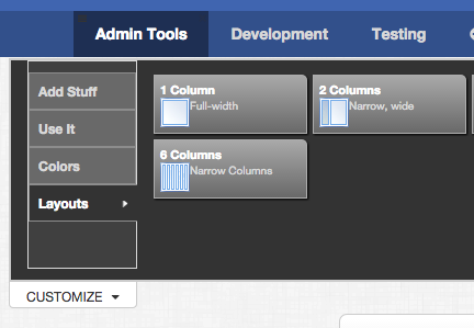 Six columns as option available under Layouts in the Customize drawer