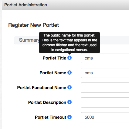 Screenshot of expanded Portlet Title tooltip