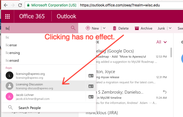 Transient Office365 OWA searching glitch