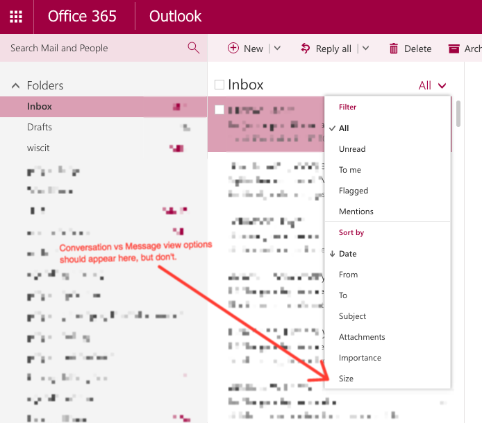 Office365 glitch switching between Conversation and Messages view